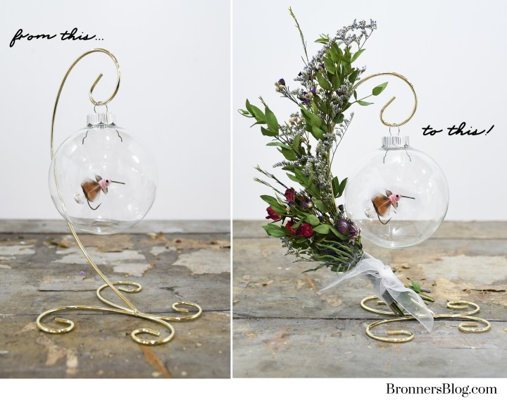 Dried flowers add attractive appeal to a plain ornament stand.