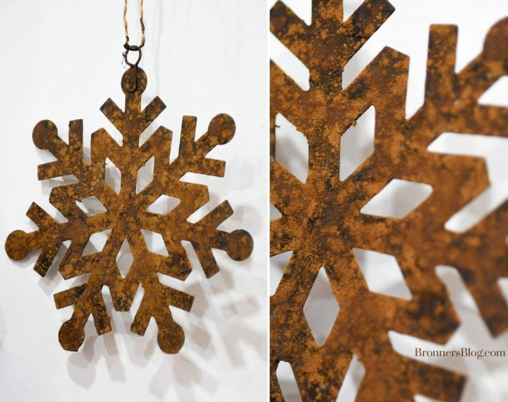 The collage features a full shot of the rusted metal snowflake ornament and a closeup of part of the ornament.
