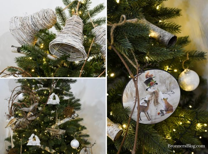 The collage of closeups feature the twig bells atop the tree, the ornaments throughout the middle of the tree, and a closeup of the snowman metal disc ornament.