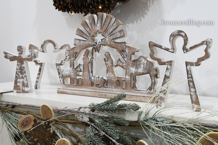 Nesting Angels and Wooden Nativity Silhouette are sustainable decorations for Christmas.