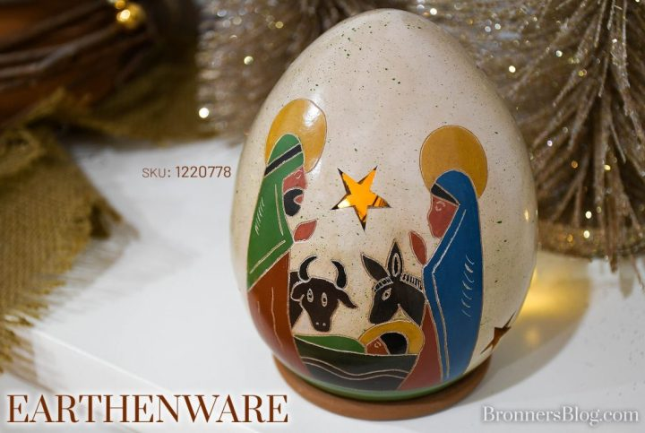 Closeup photo of the earthenware Nativity luminary with animals on the mantel. Made in Nicaragua and provides sustainable decorations for Christmas.