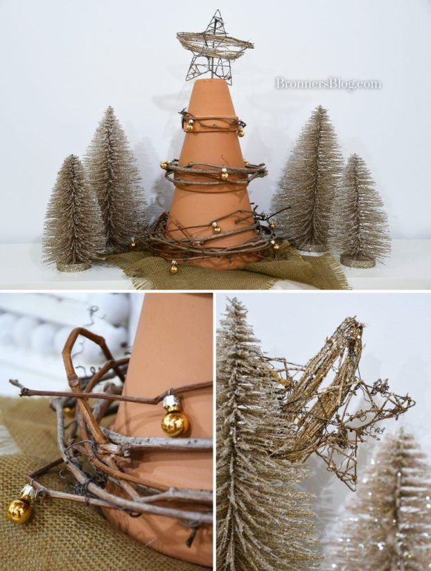 For sustainable decorations for Christmas, the photo collage features the terra cotta tree on the mantel surrounded by silver glitter trees with closeups of a wire rattan star in a tree and mini gold ornaments on the grapevine wrapped on the terra cotta tree.
