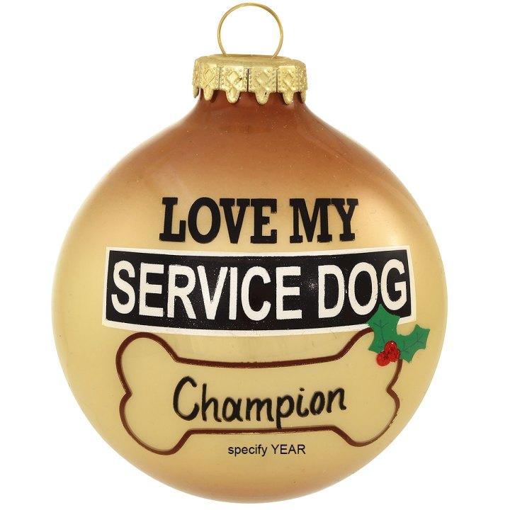 Personalized service dog ornament