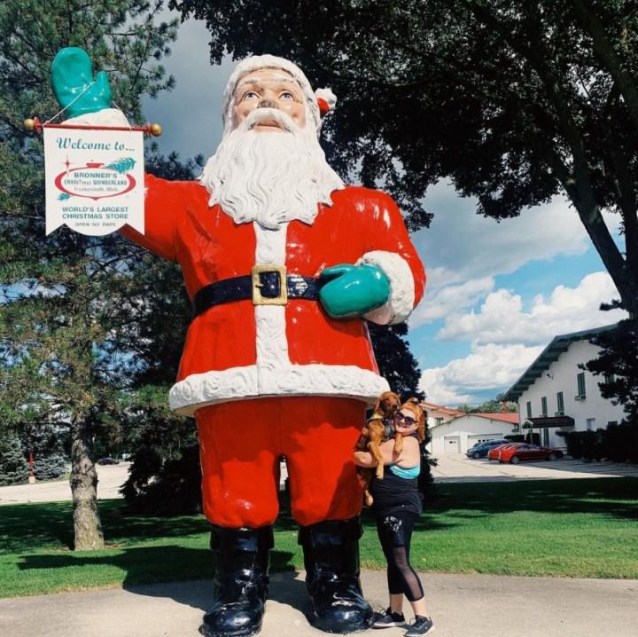 Red Golden Retriever with Bronner's giant Santa