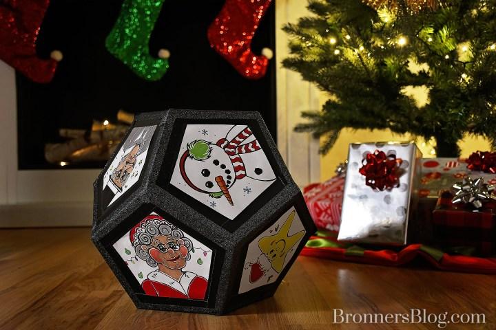 DIY Christmas-themed pentagon die from foam core