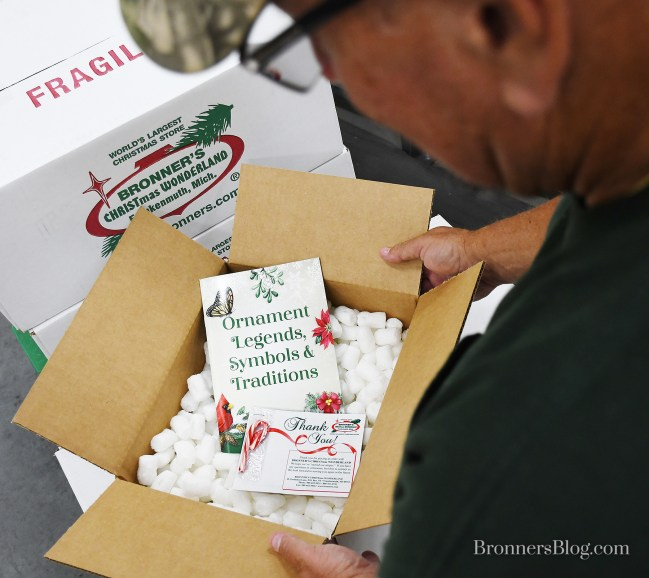 """Bronner's CHRISTmas Wonderland ships out a """"Thank You"""" candy cane card with every package."""