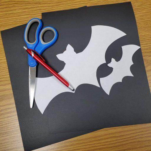supplies for making black cardstock bats