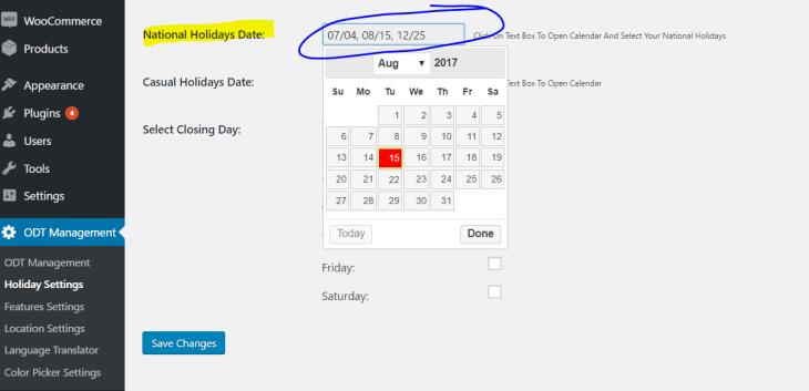 National holidays setup with WooCommerce and WooODT Extended