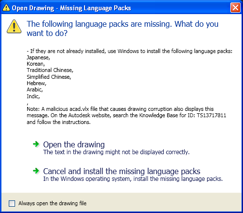 Language Pack warning