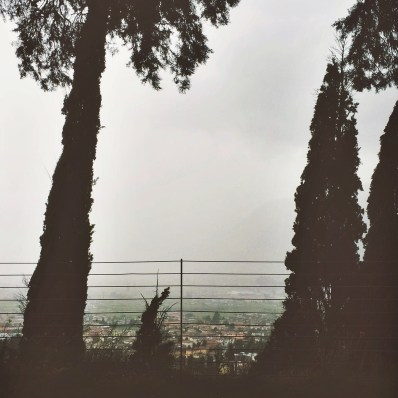 View over Arco during a storm; Lake Garda; Italy; iPhone5s snapshot, mobile photography, edited with mextures & afterlight
