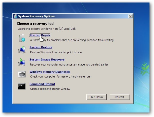 startup repair Windows 7