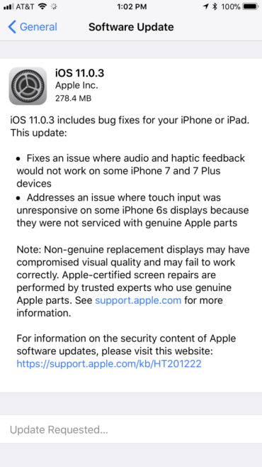download iOS 11.0.3