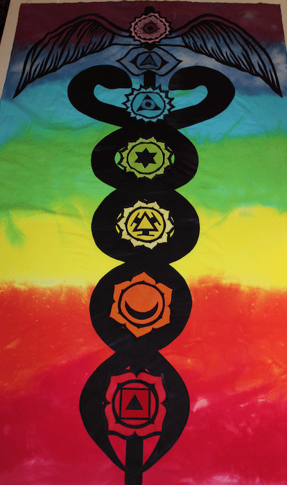 applique chakras on kundalini serpent quilt hand dyed by doris lovadina artist