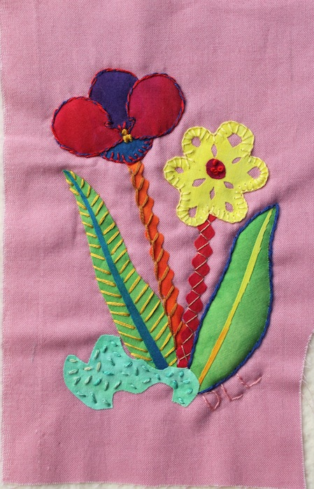 Flowers postcard with embroidery