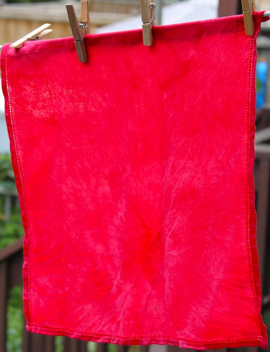 hand dyed serviette fuschia
