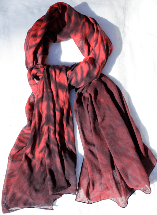 Red and black Arashi Shibori cotton gauze