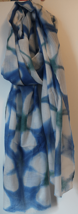 Itajime Shibori wool scarf in blue and green
