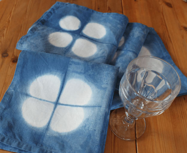 Indigo dyed linen dinner napkins