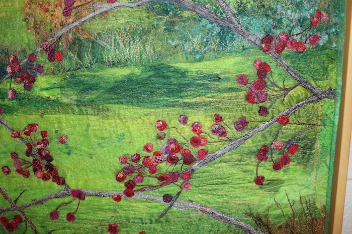 World of Thread entry: Detail of Autumn Branches Against Green Hill by Marilyn Clarke