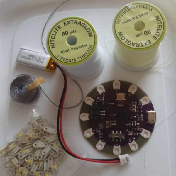 Supplies: LED lights, conductive thread, LilyTiny, battery