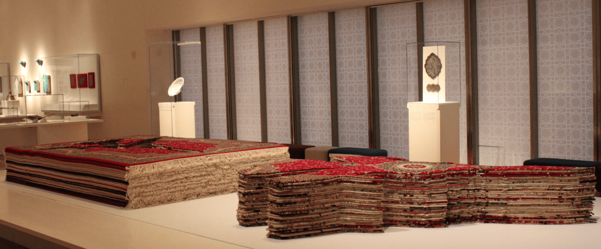 Flying Carpet, 2007 by Farhad Moshiri b. 1963, lives and works in Tehran and Paris 32 stacked macine-made carpets