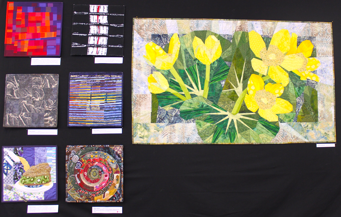 Helen Garland: Beautiful Chaos, Crossing Borders (Top row); Roots, Reflections (Middle row); Crumbling Support, Life Cycle (Bottom row) and The Brook Marsh