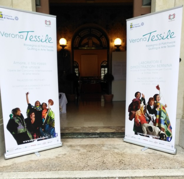 Entrance to the International Textile Art Contest in the Palazzo dei Mutilati Verona, Italy