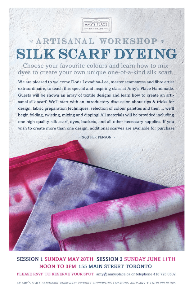 Artisan workshop silk scarf dyeing poster
