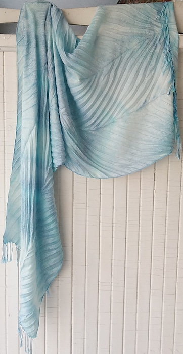 pleated arashi pashmina shibori hand dyed scarf not wool doris lee toronto artist