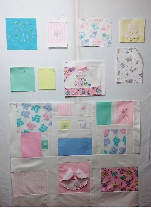 pastel pink knits from baby clothes repurposed in lap sized memory quilt by lovadina-lee toronto ontario canada