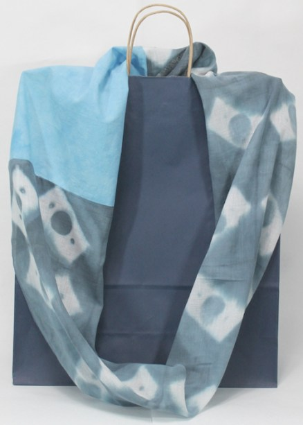 infinity cotton gauze scarf dyed by doris lovadina-lee in bue grey