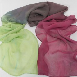 doris lovadina-lee hand dyed silk scarves rose, green and gray silk chiffon scarf handmade