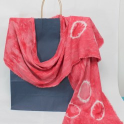 red dots on a linen and rayon blend scarf hand dyed using nui shibori technique by doris in toronto