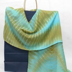 turquoise and olive green arashi shibori wool and silk scarf hand dyed by dorislovadinalee