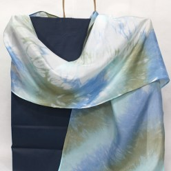 arashi shibori turquoise, blue and olive green silk scarf hand dyed by doris lovaidnal lee toronto ontario canada handmade