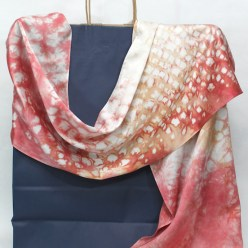 hand dyed silk satin scarf by dorislovadina-lee nui shibori coral and beige in toronto