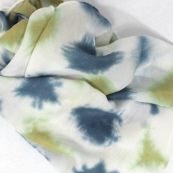 hand dyed itajime shibori blue and green wool/silk blend scarf created by doris lovadina-Lee