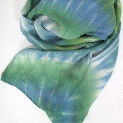 arashi shibori hand dyed wool and silk scarf in green and blue by dorislovadinalee designs