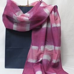 luxurious silk cotton scarf handdyed itajime shibori check pink purple mauve