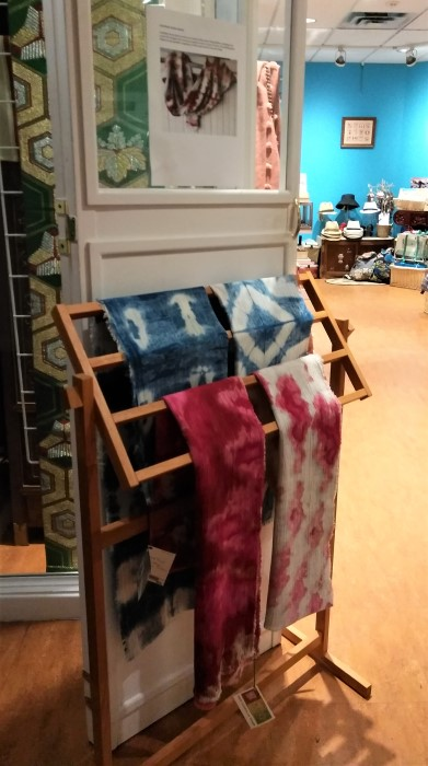 indigo and snow dyed shibori scarves by doris lovadina-lee doorway to gift shop of Textile Museum of Canada