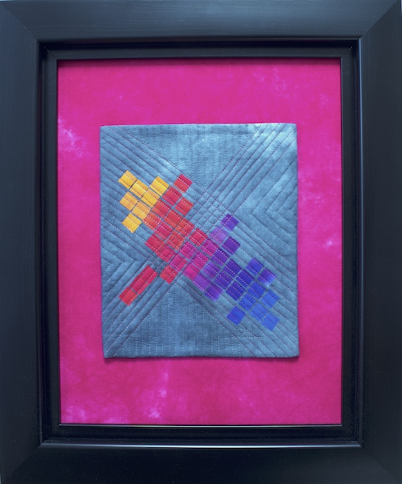 Pixelation I textile painting by Doris Lovadina-Lee, small bright mosaic squares fused and machine quilted in black frame