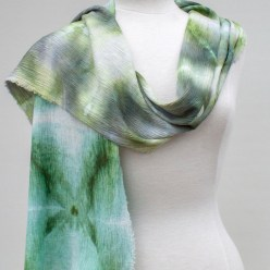 Woodland snow dyed collection crinkle linen rayon scarf hand dyed doris lovadina lee toronto