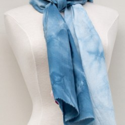 cotton rayon shibori snow dyed scarf in blue handmade by doris lovadina-lee