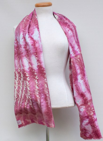 luxury scarf hand dyed with snow by doris lovadina-lee toronto ontario canada