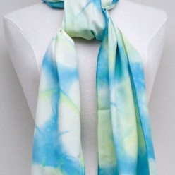 silk itajime shibori hand dyed scarf blue and yellow dorislovadinalee.com