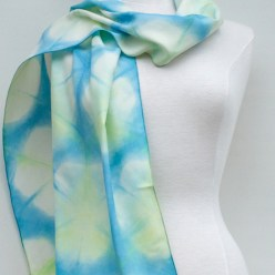 silk shibori scarf bespoke yellow and blue dye doris lee toronto