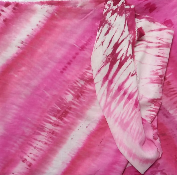 shades of pink folded ladies linen/rayon scarf in fuchsia folded hand dyed toronto ontario canada