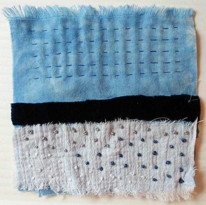 five inch square of hand dyed fabric with french knots and running stitch by doris lovadina-lee