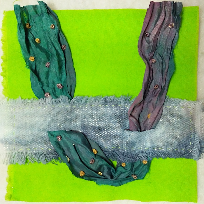 Doris lovadina-Lee`s stitch meditation day 5 green cotton, hand dyed metallic linen, sari silk, perle cotton thread