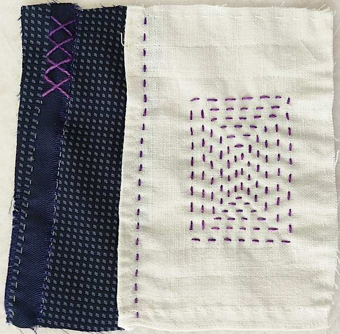 Day 8 stitch meditation of the 100 day stitch meditation journey by doris lovadina-lee quilter toronto canada